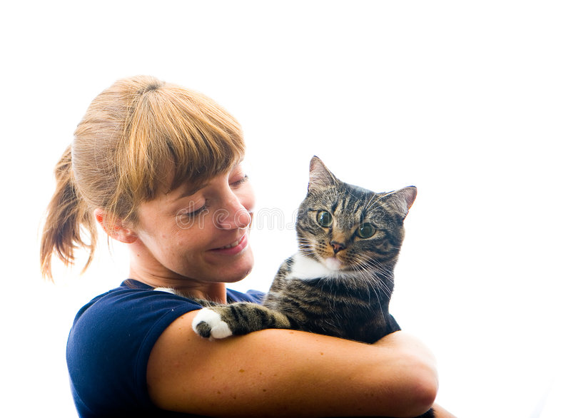 Download Woman looking at pet cat stock image. Image of isolated - 6338149