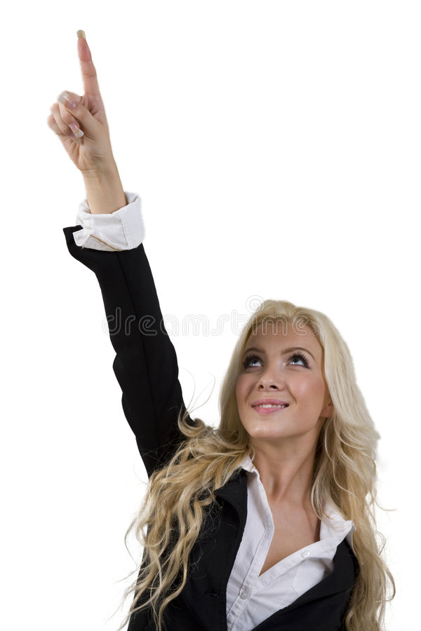Woman looking and pointing upward stock photos