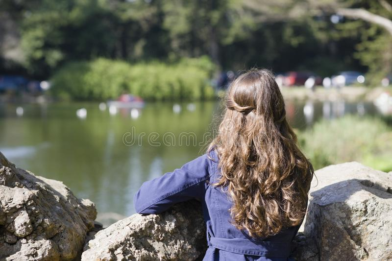 Download Woman Looking at Pond stock photo. Image of loneliness - 13838110