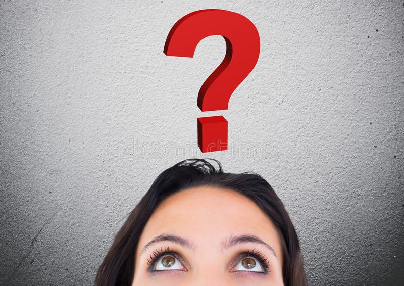 Woman looking at question mark graphic above her head. Digital generated image of woman looking at question mark graphic above her head stock illustration