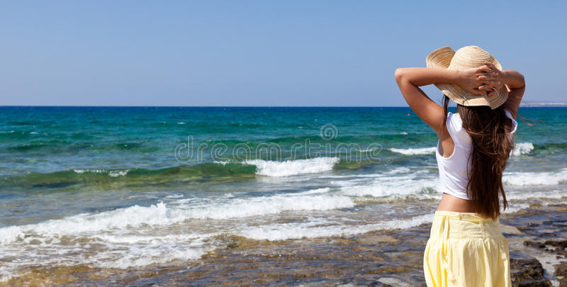 Download Woman Is Looking At The Sea Stock Image - Image: 17024797