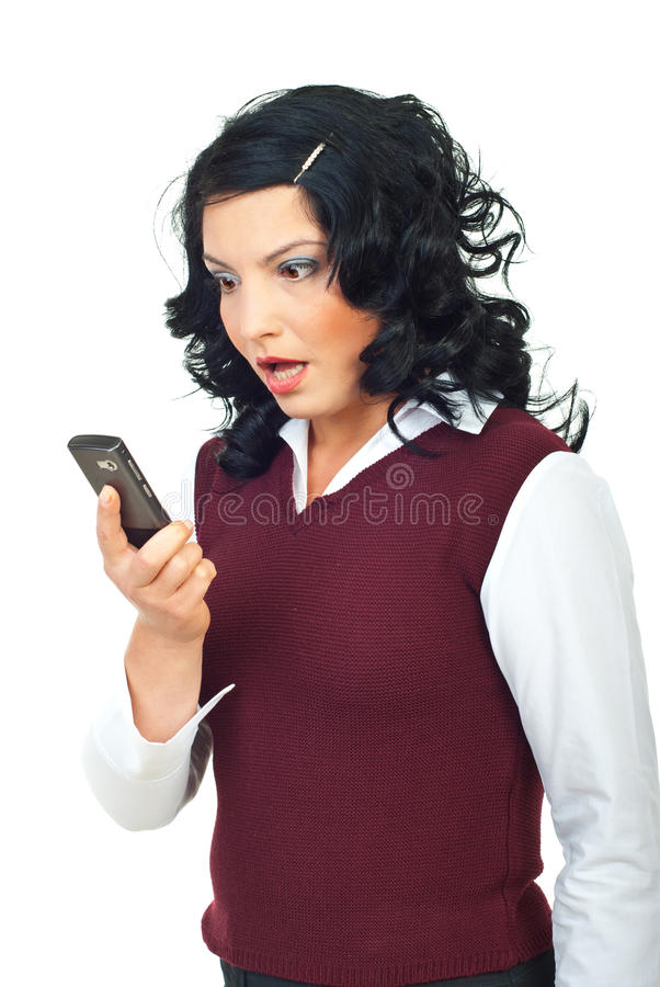 Download Woman Looking Shocked To Phone Mobile Stock Image - Image: 16360633