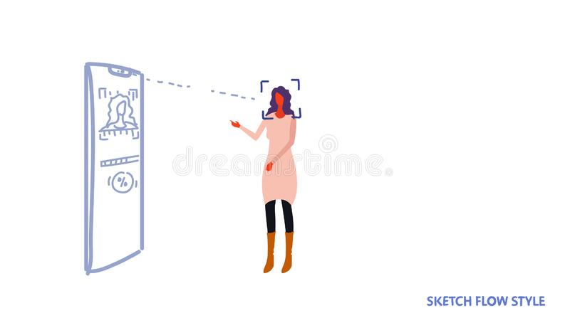 Woman looking smartphone screen face recognition technology concept biometric identification scan system loading process royalty free illustration