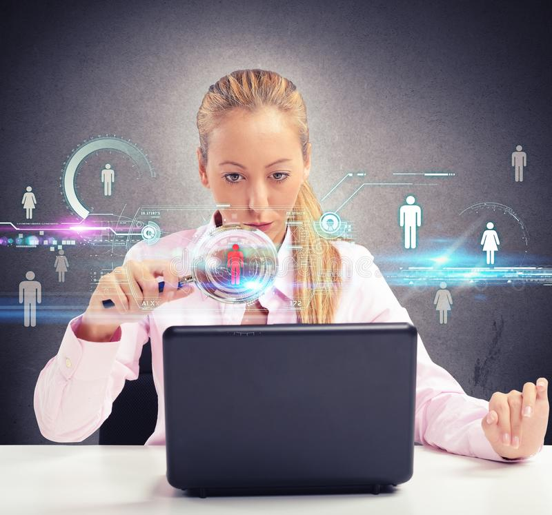 Woman looking on social networks royalty free stock image
