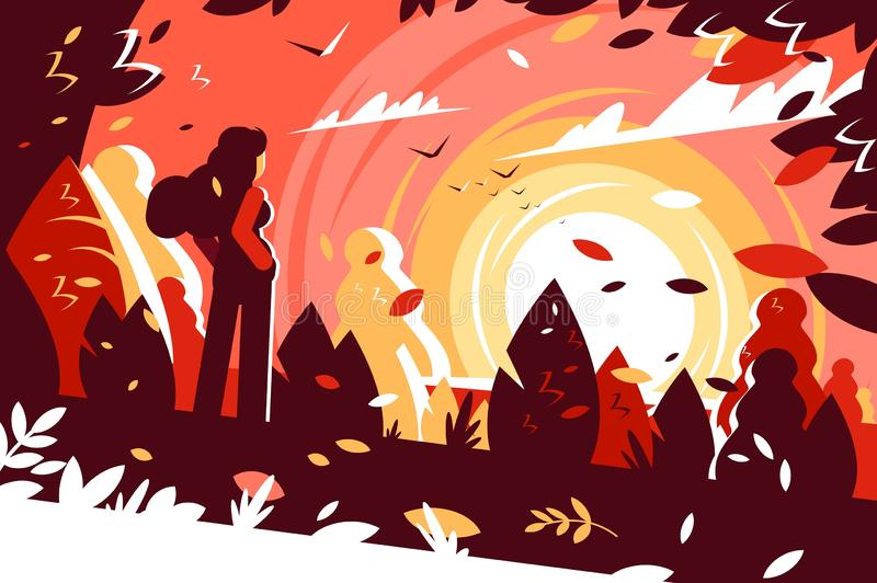 Woman looking sunset autumn landscape background. vector illustration