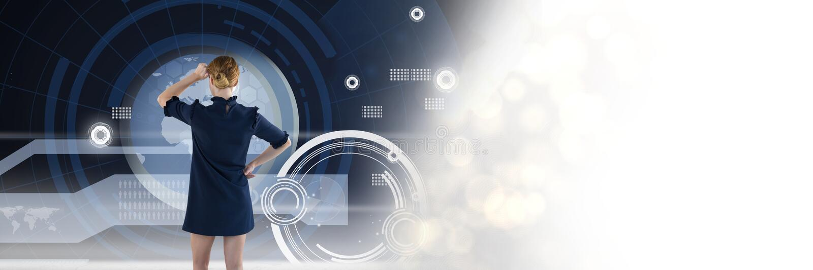 Woman looking at technology information interface transition royalty free stock photo