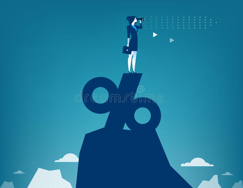 Woman looking through telescope standing on top of percentage vector illustration