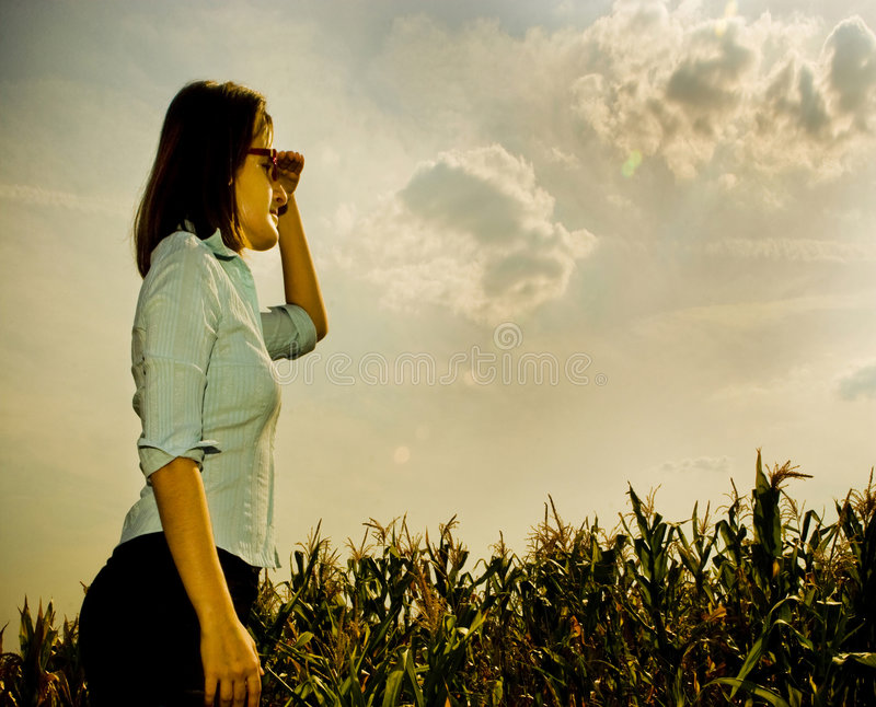Woman looking to the future royalty free stock photography