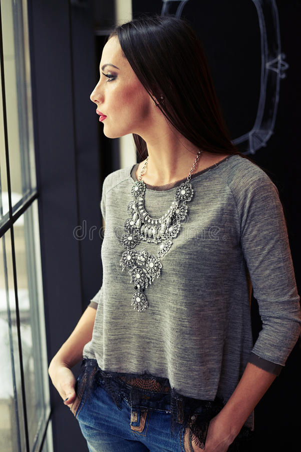 Download Woman Looking To The Window Stock Image - Image: 67871339