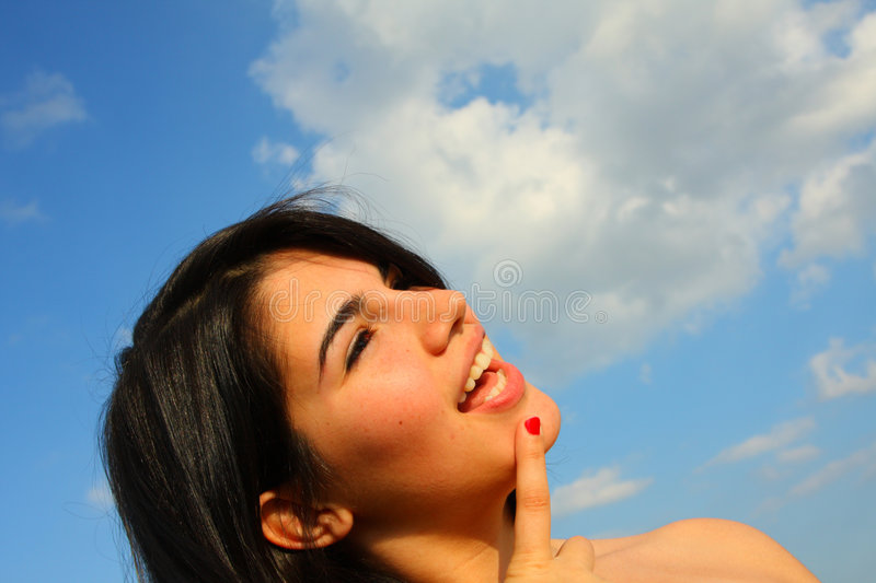 Download Woman looking up stock photo. Image of finger, woman, mouth - 5005658