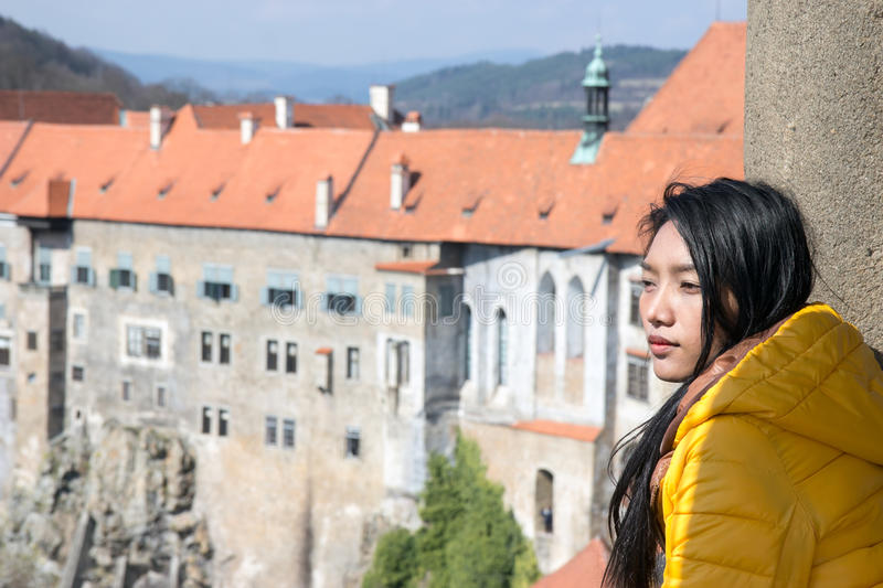 Woman on the lookout castle royalty free stock images