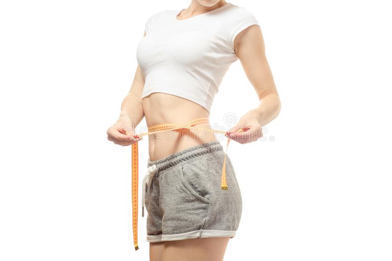 Woman lose weight slimness centimeter stock images