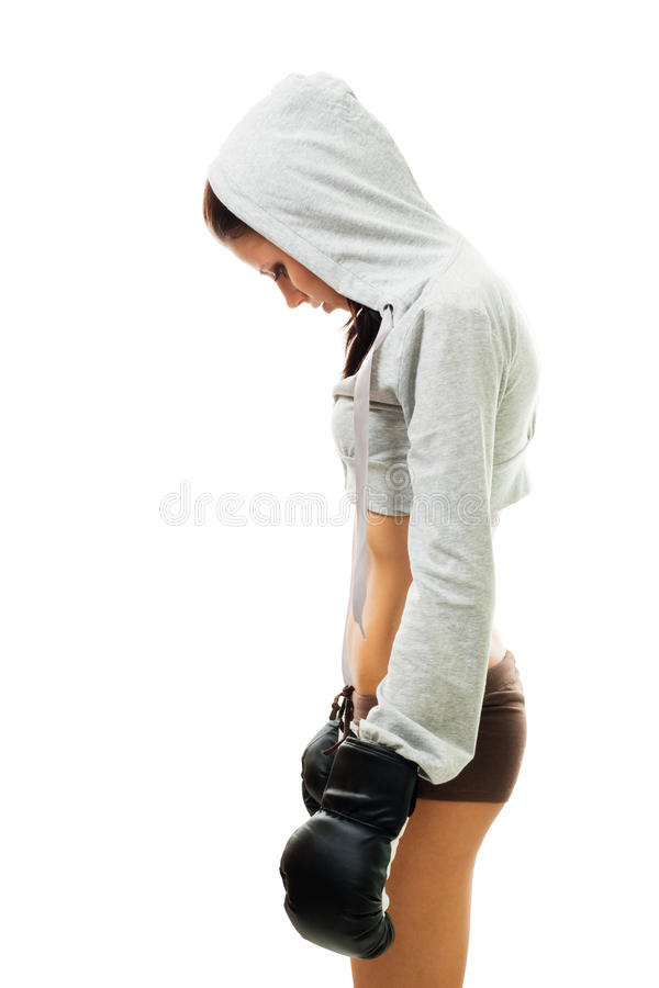Woman loss the fight stock photos