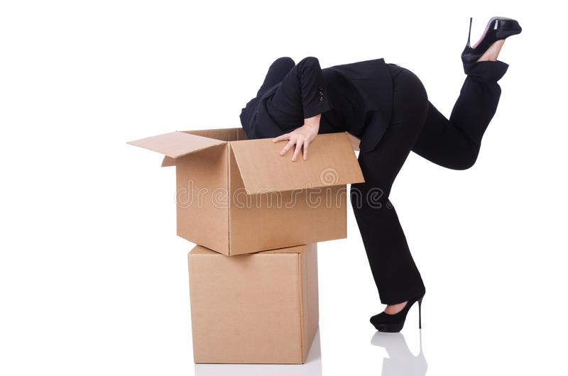 Download Woman with lots of boxes stock photo. Image of occupation - 31752826