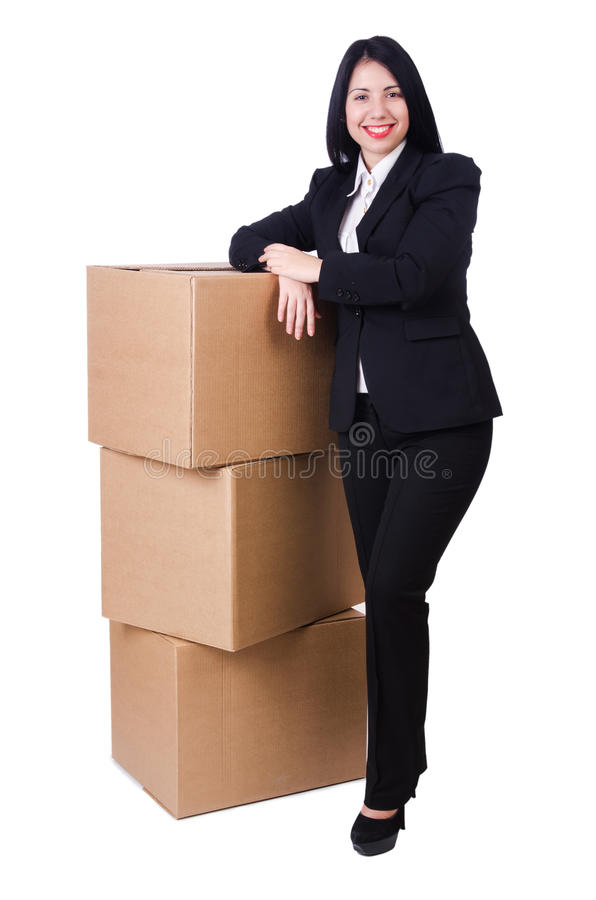 Download Woman with lots of boxes stock photo. Image of isolated - 32811840