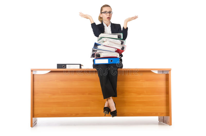 Woman With Lots Of Work Stock Photo