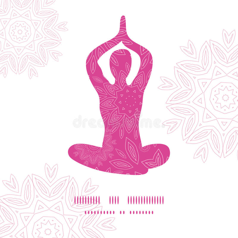 Woman in lotus yoga pose silhouette pink flowers. Vector woman in lotus yoga pose silhouette pink flowers pattern background frame stock illustration