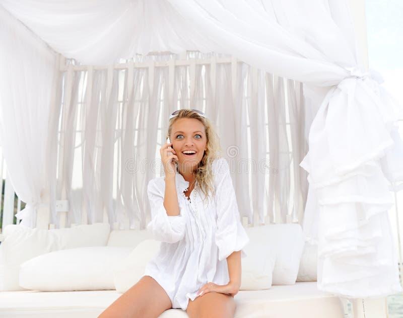 Woman On A Lounger. Stock Photos