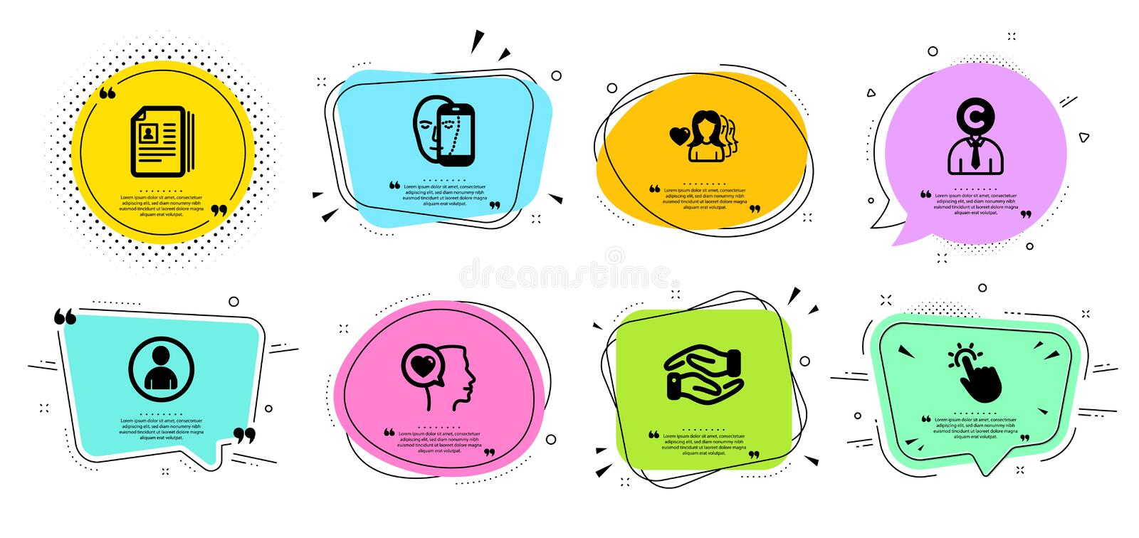 Woman love, Avatar and Face biometrics icons set. Copyrighter, Romantic talk and Touchpoint signs. Vector. Woman love, Avatar and Face biometrics line icons set royalty free illustration