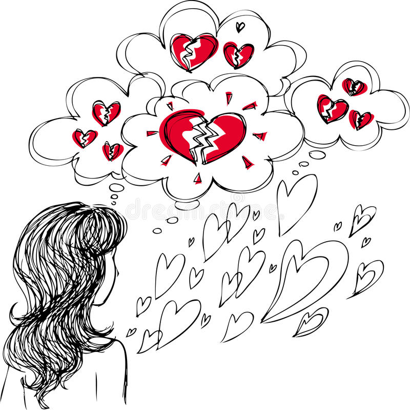 Woman in love with broken hearts vector illustration