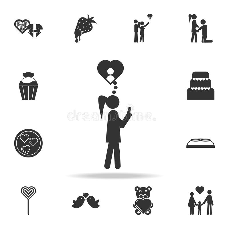 Woman in love icon. Love or couple element icon. Detailed set of signs and elements of love icons. Premium quality graphic design. royalty free illustration