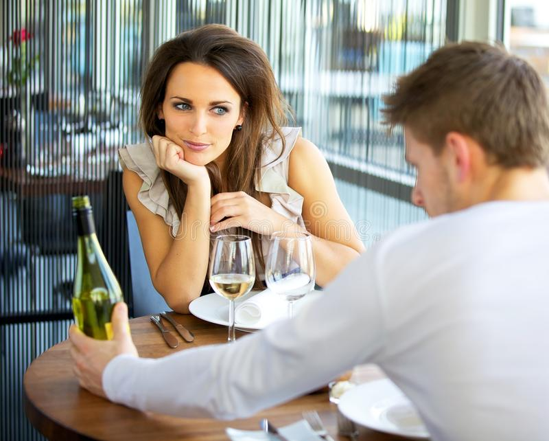 Woman In Love On Romantic Date Stock Photo