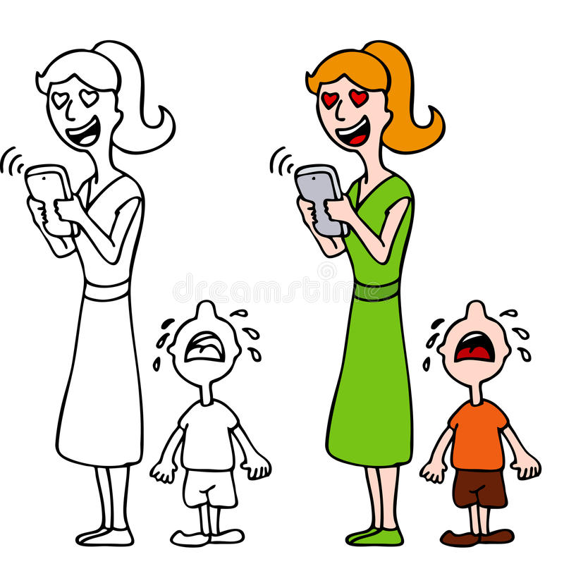 Woman In Love Texting Ignoring Crying Child royalty free illustration