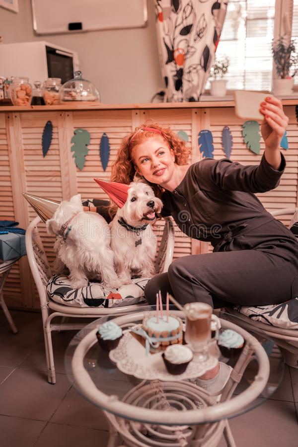 Woman loving dogs greatly making selfie with her cuties stock photos