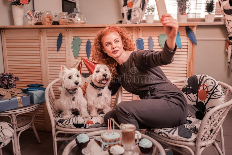 Woman loving her pets making photo with her birthday dogs stock photos