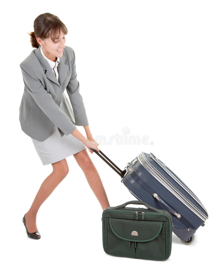 Download Woman  with a luggage stock image. Image of destinations - 11593325