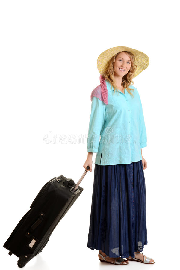 Download Woman with luggage stock image. Image of closeup, blond - 28849917
