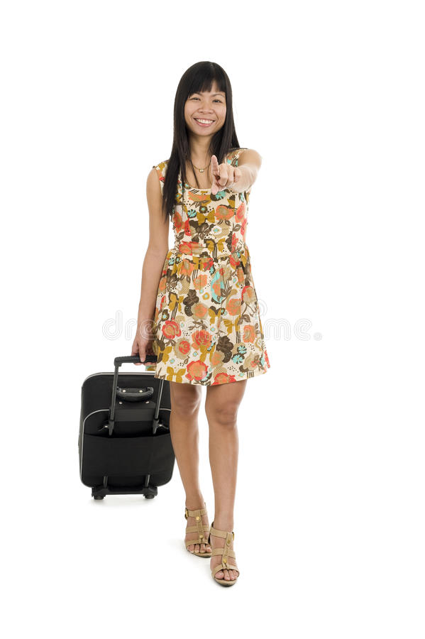 Download Woman With Luggage Pointing With Finger Stock Image - Image: 20344719