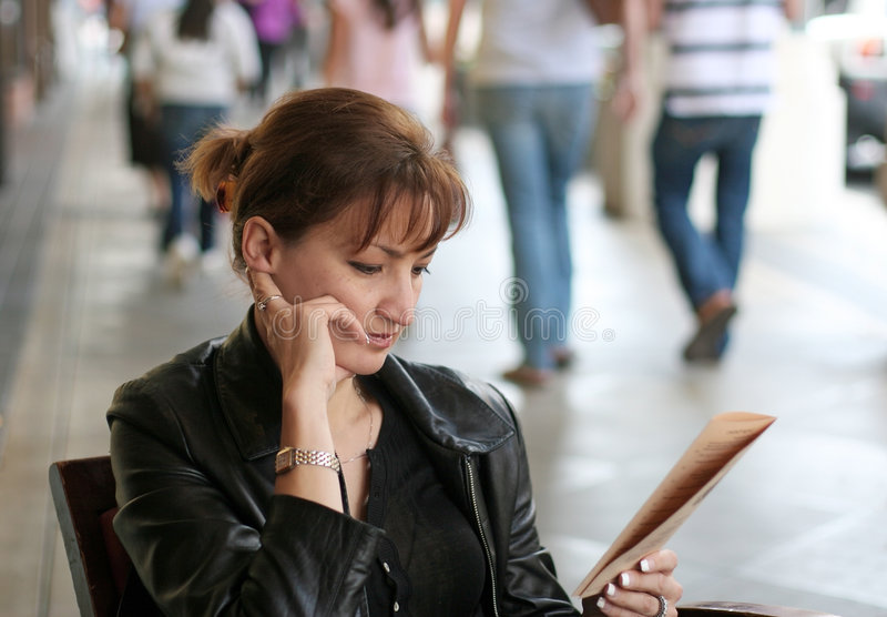 Woman at lunch royalty free stock photo
