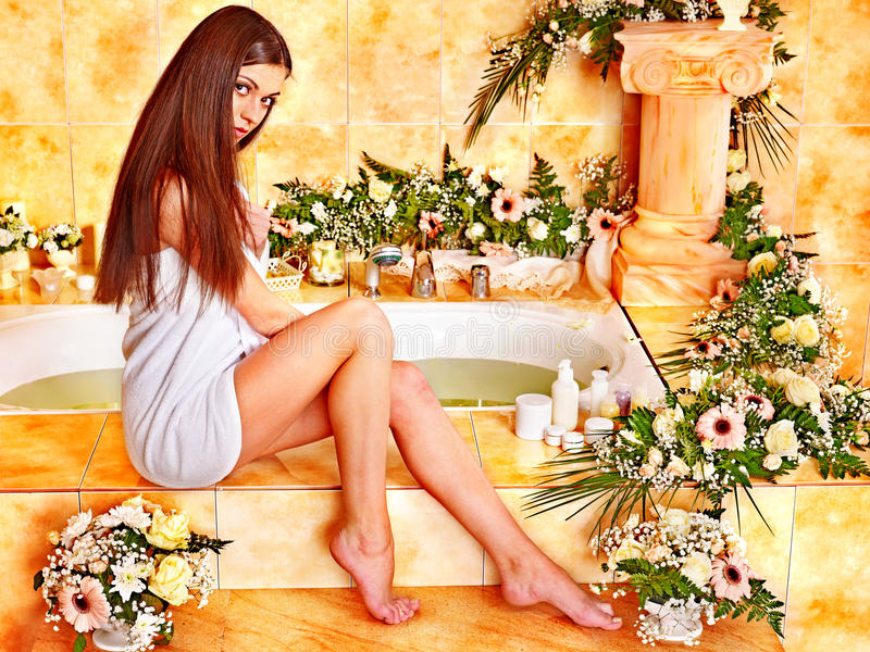 Download Woman at luxury spa. stock photo. Image of flower, interior - 28696500