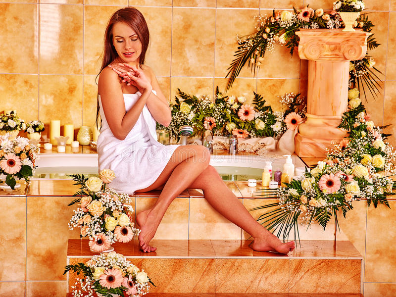 Woman at luxury spa royalty free stock photo