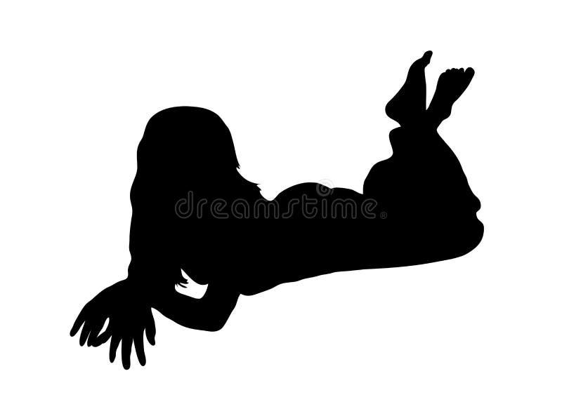 Woman Lying royalty free illustration