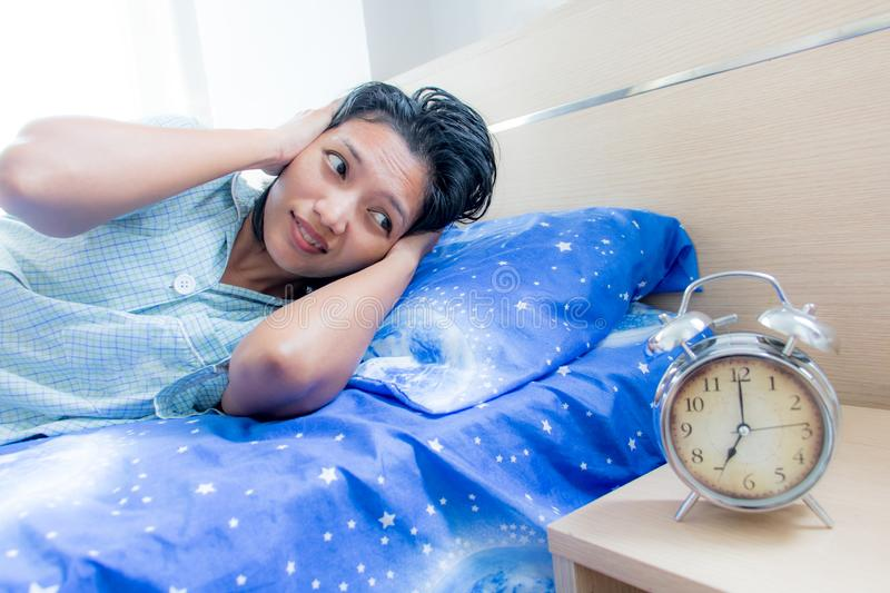 Unpleasant early awakening royalty free stock images