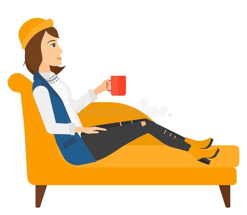 Woman lying with cup of tea royalty free illustration