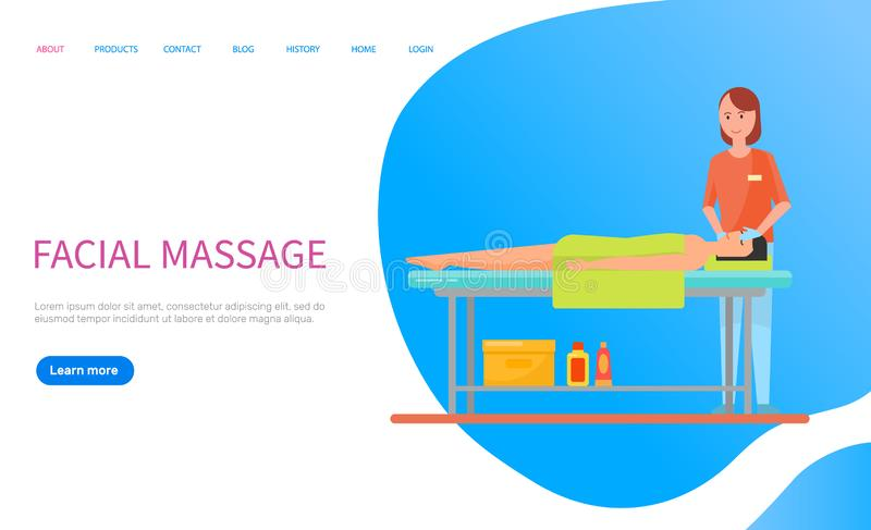 Masseuse Making Facial Massage, Relaxation Vector. Woman lying on table with towel on body, masseuse making facial massage. Relaxation of head, procedure with stock illustration