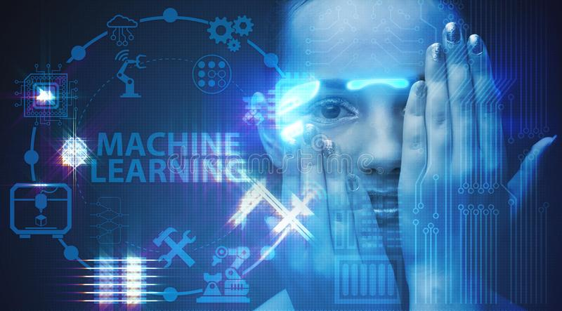 Woman in machine learning concept. The woman in machine learning concept royalty free stock images