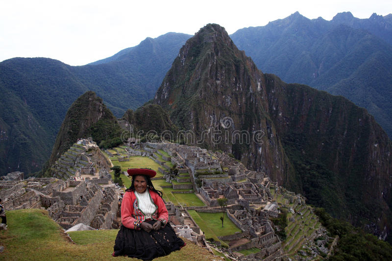 Woman in machu pichu royalty free stock image