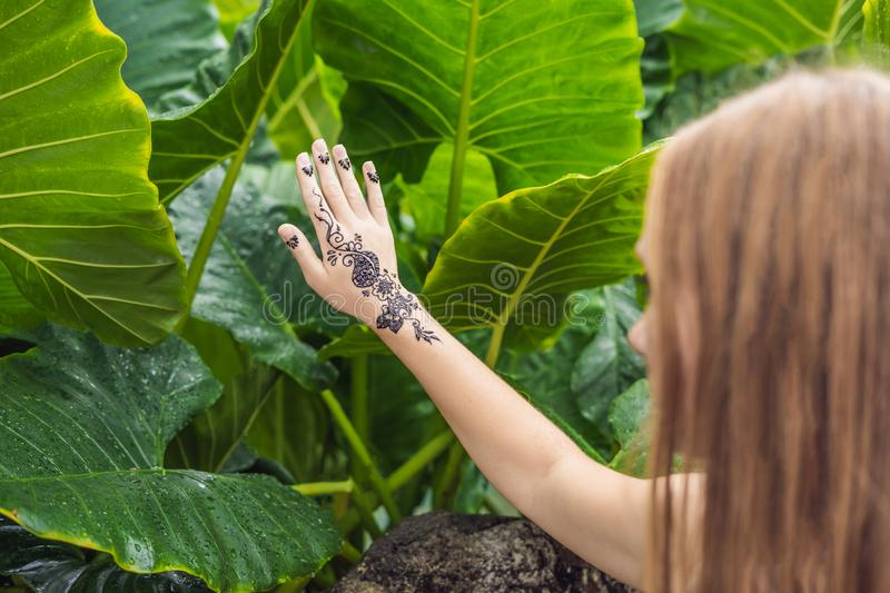 Woman with mahendi. Hand decorated with henna Tattoo. mehendi ha stock images