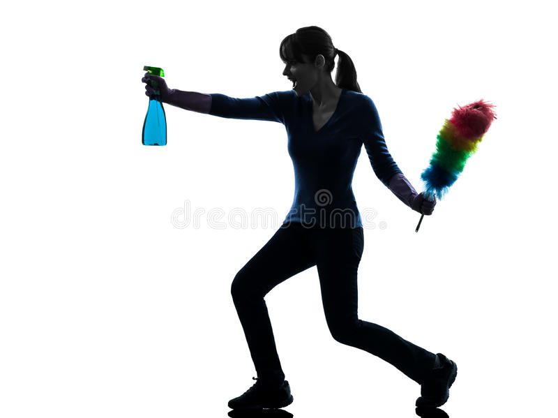 Woman maid housework dust cleaning silhouette royalty free stock photo