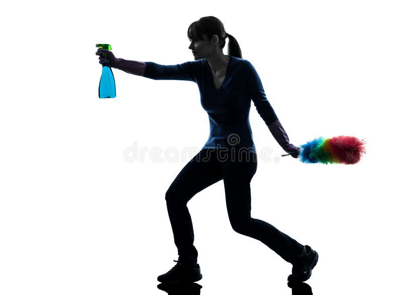 Woman maid housework dust cleaning silhouette royalty free stock image