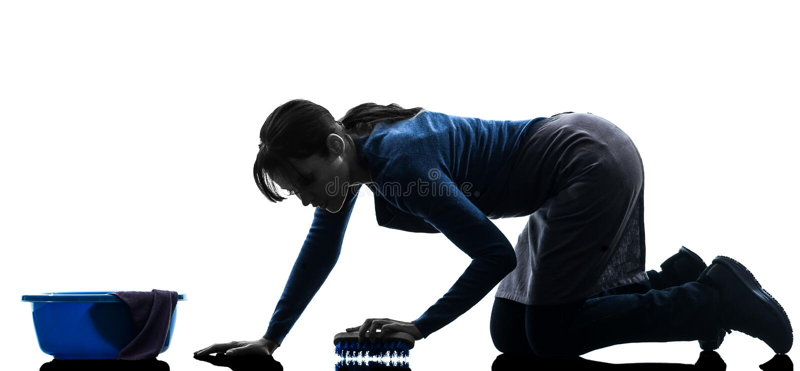 Woman maid housework washing floor silhouette stock image