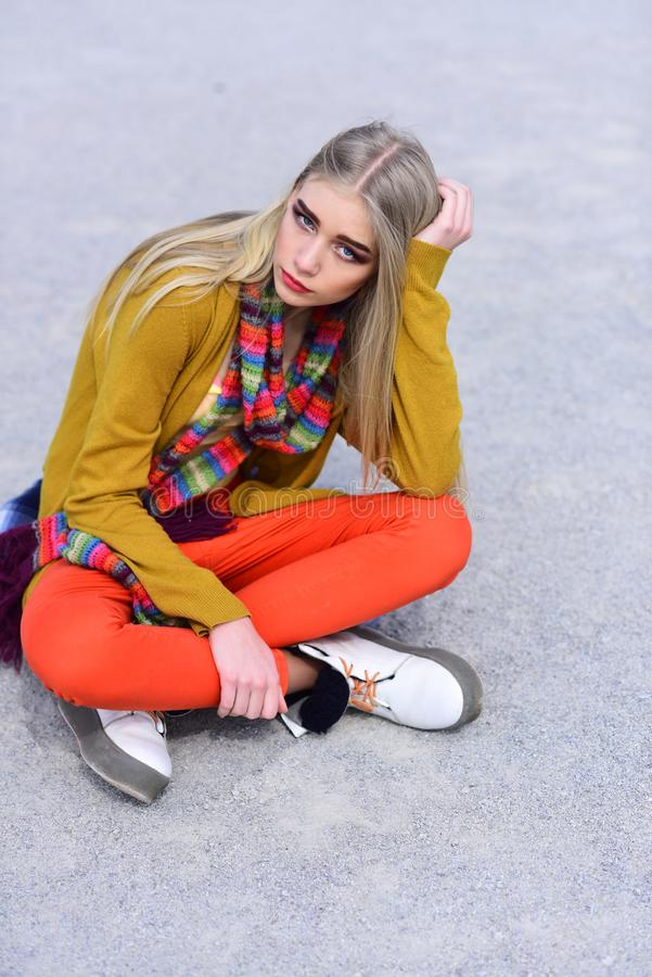 Woman maintaining fashion blog. Hip hop girl with fashionable hair. Beauty and fashion look of vogue model. Hipster royalty free stock photos