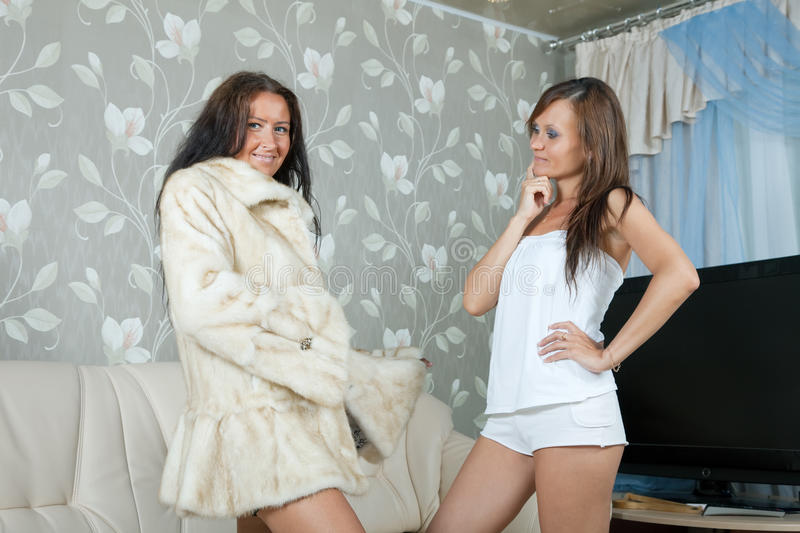 Download Woman  Make Boast Of Fur Coat Stock Photo - Image of display, cheerful: 20241880