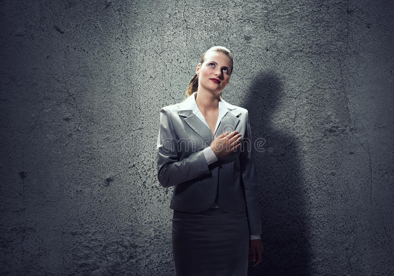 Woman make oath stock photo