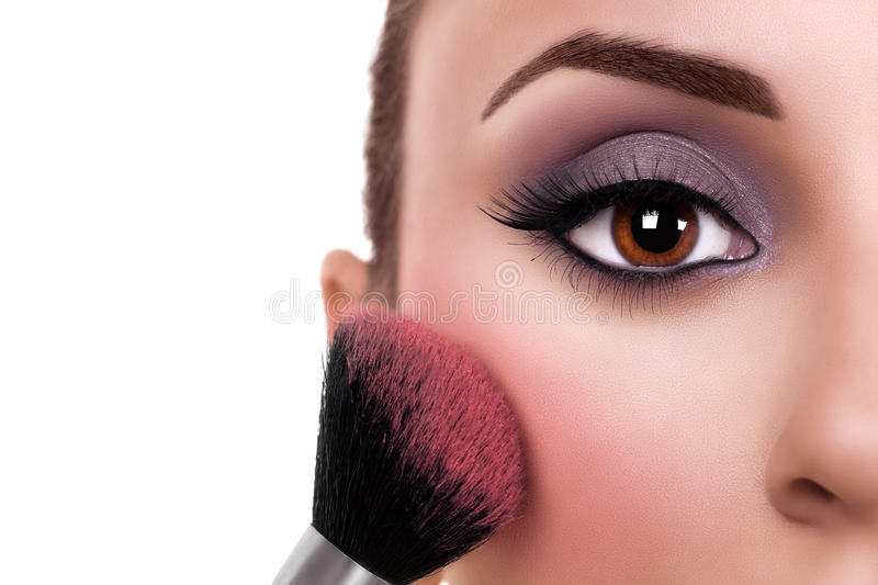 Woman Make Up Blush royalty free stock photo