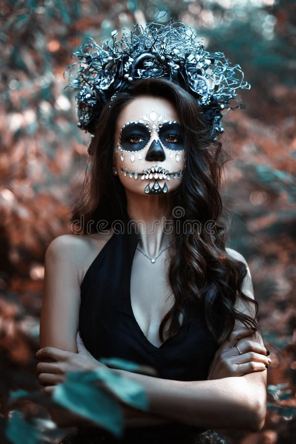 Woman with make-up for Halloween royalty free stock image